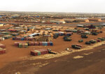 In this photo taken on Friday, Nov. 1, 2019, an aerial view of Goa airport in Mali, where French soldiers have massive presence. Mali's military has abandoned some of its most isolated outposts in the desert north while extremist attacks have killed more than 100 soldiers in just six weeks. The West African nation's president faces a decline in military morale, a sentiment that helped spark a coup against his predecessor in 2012. (AP Photo/Baba Ahmed)
