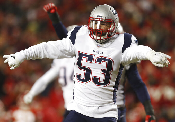 New England Patriots middle linebacker Kyle Van Noy (53) celebrates after sacking Kansas City Chiefs quarterback Patrick Mahomes during the first half of the AFC Championship NFL football game, Sunday, Jan. 20, 2019, in Kansas City, Mo. (AP Photo/Jeff Roberson)
