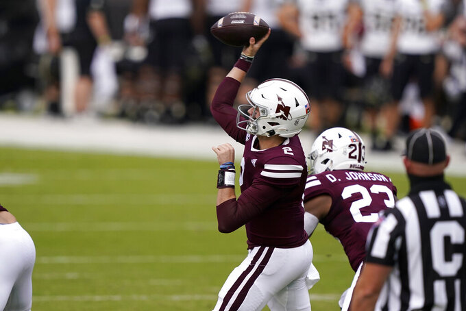 Mississippi State quarterback Will Rogers (2) passes against Vanderbilt during the first half of an NCAA college football game in Starkville, Miss., Saturday, Nov. 7, 2020. (AP Photo/Rogelio V. Solis)