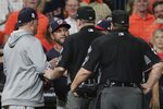 Washington Nationals manager Dave Martinez is ejected after arguing an interference call during the seventh inning of Game 6 of the baseball World Series against the Houston Astros Tuesday, Oct. 29, 2019, in Houston. (AP Photo/David J. Phillip)