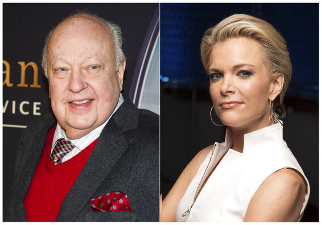 This combination photo shows Roger Ailes at a special screening of