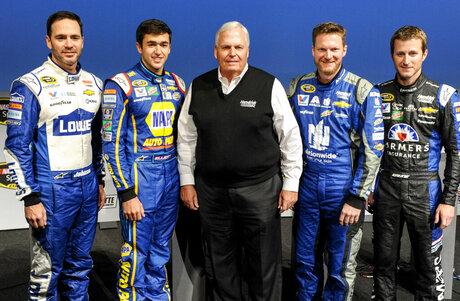 Jimmie Johnson, Chase Elliott, Rick Hendrick, Dale Earnhardt Jr., Kasey Kahne
