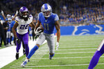 Detroit Lions wide receiver Marvin Jones (11) runs into the end zone for a 16-yard touchdown during the first half of an NFL football game against the Minnesota Vikings, Sunday, Oct. 20, 2019, in Detroit. (AP Photo/Rick Osentoski)