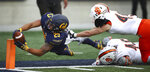 Idaho State's Colton Belnap, right, pushes California's Nikko Remigio (25) out of bounds at the goal line during the second half of an NCAA college football game Saturday, Sept. 15, 2018, in Berkeley, Calif. (AP Photo/Ben Margot)