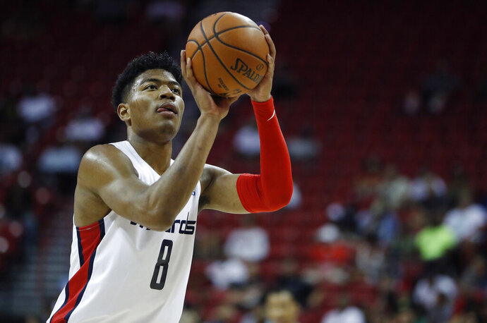 Washington Wizards' Rui Hachimura shoots against the Atlanta Hawks during the first half of an NBA summer league basketball game Thursday, July 11, 2019, in Las Vegas. (AP Photo/John Locher)