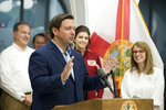 "Florida Governor Ron DeSantis speaks at the Panama City City Hall on Thursday, Oct. 10, 2019. His wife Casey DeSantis is pregnant with the family's third child. He joked that the family will have to transition from ""man-to-man to zone defense."" (Joshua Boucher/News Herald via AP)"