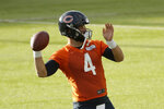 Chicago Bears' quarterback Chase Daniel takes part in an NFL training session at the Allianz Park stadium in London, Friday, Oct. 4, 2019. The Chicago Bears are preparing for an NFL regular season game against the Oakland Raiders in London on Sunday. (AP Photo/Matt Dunham)