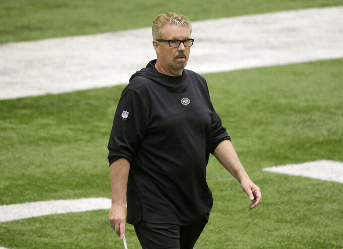 FILE - This May 23, 2019, file photo shows New York Jets defensive coordinator Gregg Williams during an NFL football team practice in Florham Park, N.J. Williams believes All-Pro safety Jamal Adams has the skills to be a Hall of Famer. Williams can only hope that Adams will keep displaying them in New York. (AP Photo/Seth Wenig, File)
