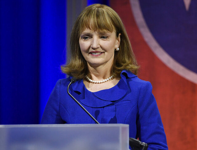 FILE - In this Jan. 23, 2018, file photo, Republican Beth Harwell addresses the audience during the Gubernatorial Forum on Education at Belmont University in Nashville, Tenn. President Donald Trump has nominated  Harwell to serve on the board of directors of the nation's largest public utility. In a news release Tuesday, Jan. 28, 2020 Republican U.S. Sen. Lamar Alexander praised the nomination of Beth Harwell to the Tennessee Valley Authority board.   (George Walker IV/The Tennessean via AP, Pool, File)