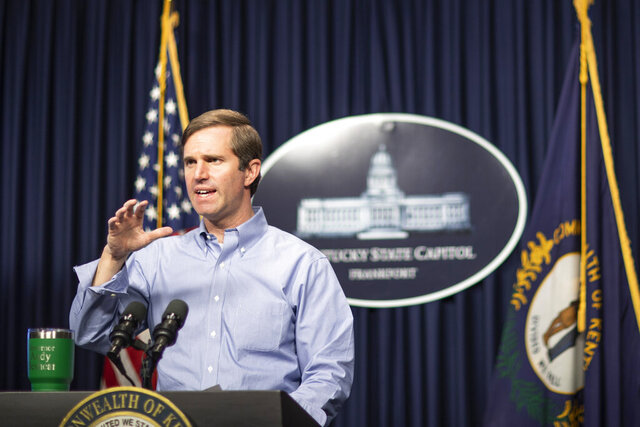 Kentucky Gov. Andy Beshear speaks during a news conference concerning the coronavirus, at the Capitol in Frankfort, Ky., Monday, May 11, 2020. (Ryan C. Hermens/Lexington Herald-Leader via AP)