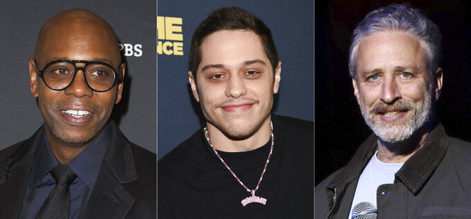 """Comedian Dave Chappelle arrives at Kennedy Center for the Performing Arts to receive the 22nd Annual Mark Twain Prize for American Humor in Washington on Oct. 27, 2019, left, actor-comedian Pete Davidson attends the premiere of """"Big Time Adolescence"""" on March 5, 2020, in New York, center, and comedian Jon Stewart performs at the 9th Annual Stand Up For Heroes event in New York on Nov. 10, 2015. Chappelle, Davidson and Stewart will perform in a star-studded group of comedians to perform for one night only at Madison Square Garden to mark the 20th anniversary of 9/11. All proceeds from """"NYC Still Rising After 20 Years: A Comedy Celebration"""" will benefit 9/11 charities.  (AP Photo)"""