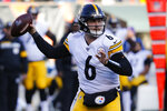 Pittsburgh Steelers quarterback Devlin Hodges passes during the second half an NFL football game against the Cincinnati Bengals, Sunday, Nov. 24, 2019, in Cincinnati. (AP Photo/Frank Victores)