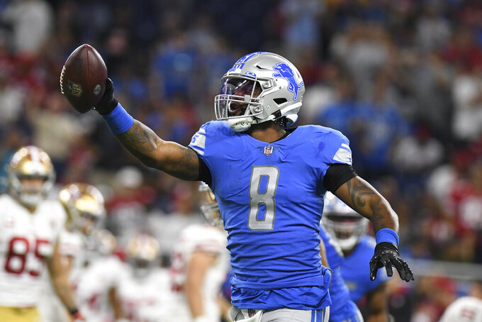 Detroit Lions outside linebacker Jamie Collins (8) reacts to recovering a San Francisco 49ers fumble In the first half of an NFL football game in Detroit, Sunday, Sept. 12, 2021. (AP Photo/Lon Horwedel)