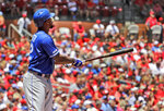 Kansas City Royals' Jorge Soler watches his three-run home run during the third inning in the first game of a baseball doubleheader against the St. Louis Cardinals Wednesday, May 22, 2019, in St. Louis. (AP Photo/Jeff Roberson)