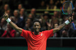 Gael Monfils of France celebrates winning against Stan Wawrinka of Switzerland in sets, 6-3, 1-6, 6-2, in the men's singles final of the ABN AMRO world tennis tournament at Ahoy Arena in Rotterdam, Netherlands, Sunday, Feb. 17, 2019. (AP Photo/Peter Dejong)