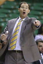 Baylor head coach Scott Drew reacts to a play against Central Arkansas in the second half of an NCAA college basketball game Tuesday, Nov. 5, 2019, in Waco, Texas. (AP photo/ Jerry Larson)