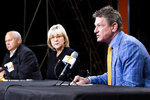"University of Tennessee System President Randy Boyd speaks during a press conference in Knoxville, Tenn., Monday, Jan. 18, 2021, as school chancellor Donde Plowman, center, and athletic director Phillip Fulmer, left, look on. Tennessee has fired football coach Jeremy Pruitt, two assistants and seven members of the Volunteers' recruiting and support staff for cause after an internal investigation found what the university chancellor called ""serious violations of NCAA rules.""   (Brianna Paciorka/Knoxville News Sentinel via AP)"