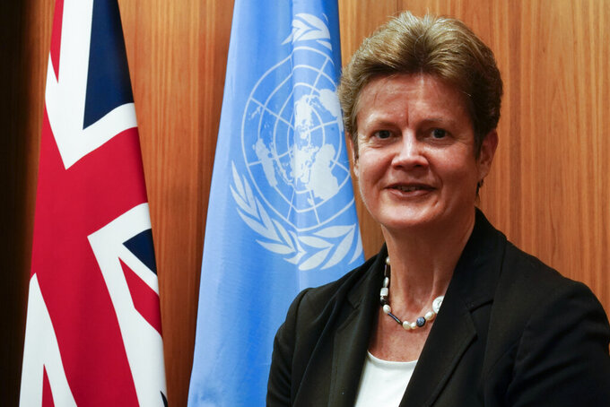 British Ambassador to the United Nations Barbara Woodward poses for a photo, Tuesday, Jan. 5, 2021, in New York. (AP Photo/Mary Altaffer)