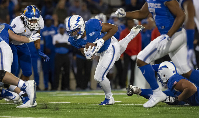 Air Force running back Christian Mallard (25) runs to the San Jose State 1-yard line during the second quarter to set up a touchdown in an NCAA college football game, Friday, Sept. 27, 2019, at Air Force Academy, Colo. (Christian Murdock/The Gazette via AP)