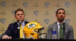 Green Bay Packers General Manager Brian Gutekunst listens as head coach Matt LaFleur is introduced at a news conference Wednesday, Jan. 9, 2019, in Green Bay, Wis. (AP Photo/Morry Gash)