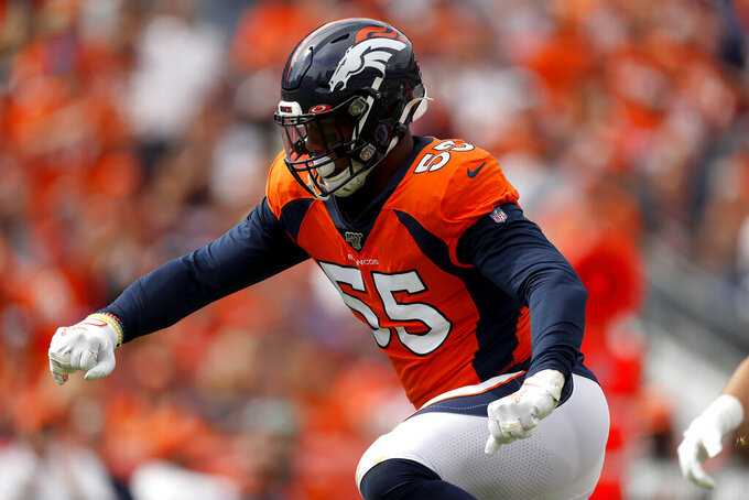 Denver Broncos outside linebacker Bradley Chubb (55) runs a play against the Chicago Bears during the first half of an NFL football game, Sunday, Sept. 15, 2019, in Denver. (AP Photo/David Zalubowski)