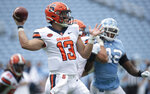 Syracuse quarterback Tommy DeVito (13) looks for an open receiver during the second quarter of an NCAA college football game against North Carolina Saturday, Sept. 12, 2020 in Chapel Hill, N.C. (Robert Willett/The News & Observer via AP, Pool)