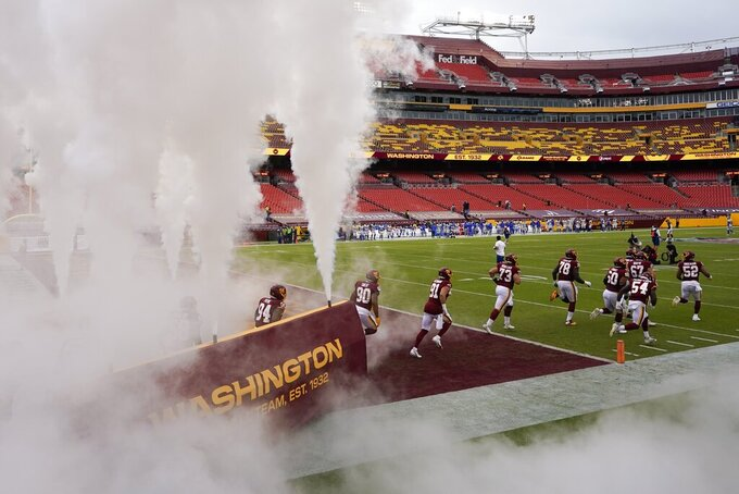 The Washington Football Team take the field before an NFL football game against the Los Angeles Rams Sunday, Oct. 11, 2020, in Landover, Md. (AP Photo/Steve Helber)