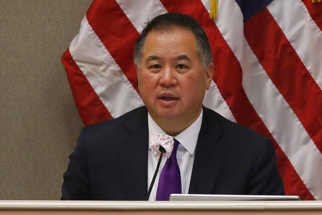 FILE — In this Monday April 20, 2020 file photo is Assemblyman Phil Ting, D-San Francisco, chairman of the Assembly Budget Committee at a hearing in Sacramento, Calif. Ting said Friday, May 22, 2020 he was concerned with some of California Gov. Gavin Newsom's spending proposals, saying they were a