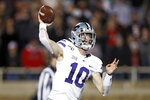 Kansas State's Skylar Thompson (10) passes the ball during the first half of an NCAA college football game against Texas Tech, Saturday, Nov. 23, 2019, in Lubbock, Texas. (Brad Tollefson/Lubbock Avalanche-Journal via AP)
