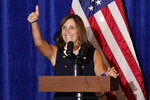 Sen. Martha McSally, R-Ariz., speaks at a Veterans for Trump campaign rally, Friday, Sept. 18, 2020, in Litchfield Park, Ariz. (AP Photo/Matt York)