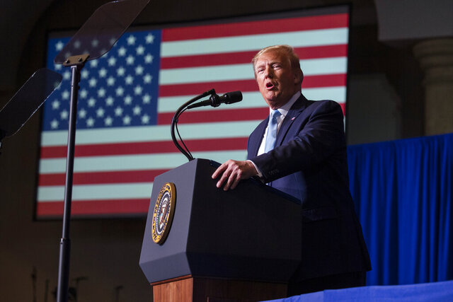 President Donald Trump speaks during an