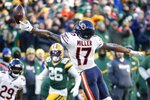 Chicago Bears' Anthony Miller can't catch a pass during the second half of an NFL football game against the Green Bay Packers Sunday, Dec. 15, 2019, in Green Bay, Wis. (AP Photo/Matt Ludtke)