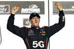 Austin Cindric celebrates in Victory Lane after winning the NASCAR Xfinity Series auto race at Daytona International Speedway, Saturday, Feb. 13, 2021, in Daytona Beach, Fla. (AP Photo/John Raoux)