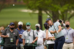 Justin Rose, of England, hits on the 15th hole during the second round of the Masters golf tournament on Friday, April 9, 2021, in Augusta, Ga. (AP Photo/David J. Phillip)