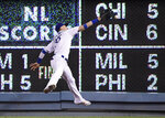 Los Angeles Dodgers right fielder Cody Bellinger can't make the catch on a double by San Diego Padres' Manny Machado during the fourth inning of a baseball game Wednesday, May 15, 2019, in Los Angeles. (AP Photo/Mark J. Terrill)