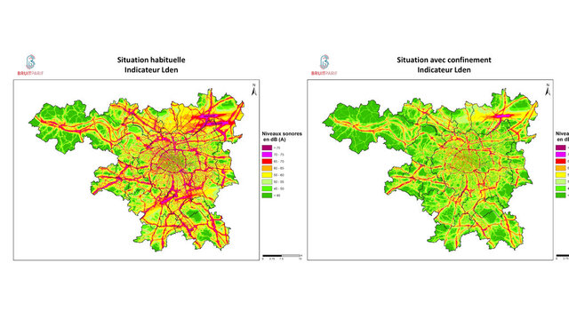 This graph provided by BruitParif on Thursday, March 26, 2020, shows the measure of noise pollution before and after the confinement due to the coronavirus outbreak. The confinement measures in and around Paris have unsurprisingly had an impact in reducing the French capital's noise pollution levels. Some 150 monitoring stations around Paris and its suburbs, has recorded an