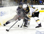 Columbus Blue Jackets forward Oliver Bjorkstrand, left, of Denmark, works against Boston Bruins defenseman Torey Krug during the second period of an NHL hockey game in Columbus, Ohio, Tuesday, March 12, 2019. (AP Photo/Paul Vernon)