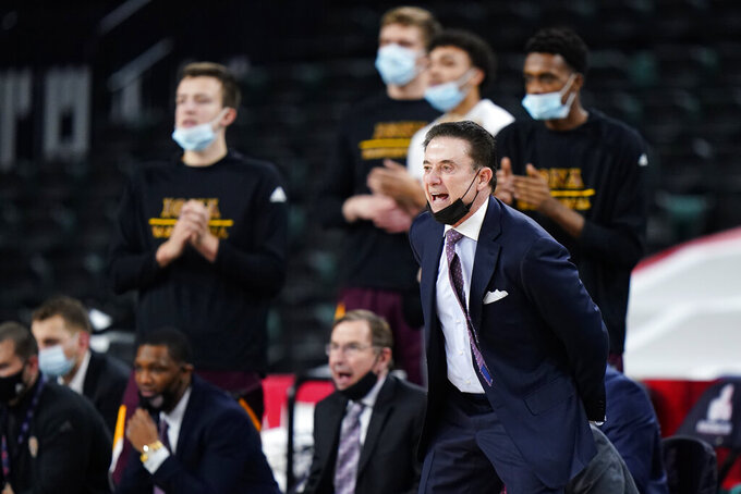 Iona head coach Rick Pitino yells to his team in the first half of an NCAA college basketball game against Fairfield during the finals of the Metro Atlantic Athletic Conference tournament, Saturday, March 13, 2021, in Atlantic City, N.J. (AP Photo/Matt Slocum)