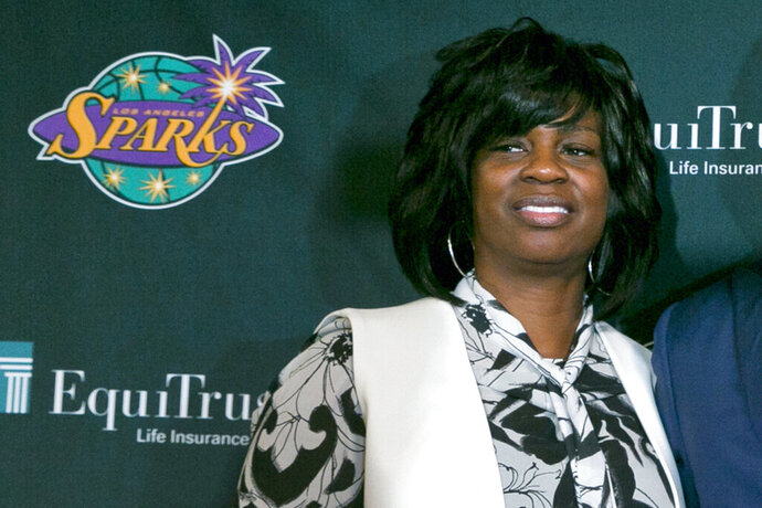 FILE - In this Dec. 7, 2018, file photo, Los Angeles Sparks executive vice president and general manager Penny Toler poses during a WNBA basketball news conference in Los Angeles. Toler was fired by the Sparks on Friday, Oct. 4, 2019.  (AP Photo/Damian Dovarganes, File)