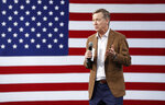 Democratic president candidate and former Colorado Gov. John Hickenlooper speaks at a Service Employees International Union forum on labor issues, Saturday, April 27, 2019, in Las Vegas. (AP Photo/John Locher)