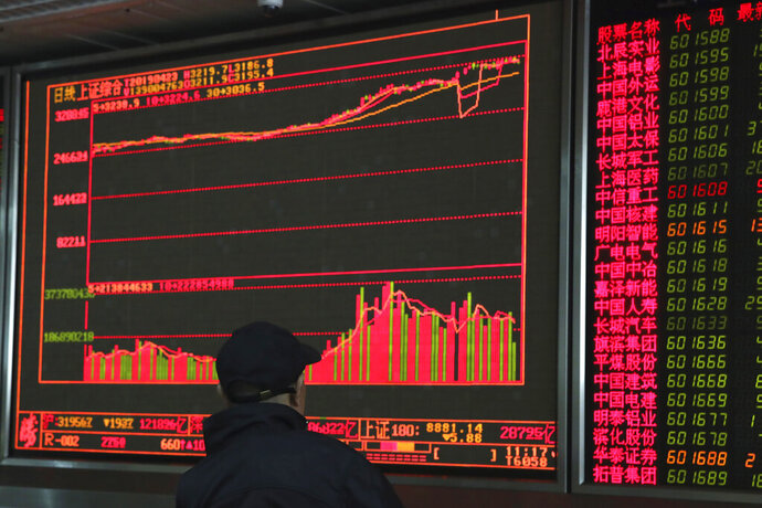 An investor monitors prices at a stock brokerage in Beijing on Tuesday, April 23, 2019. Asian stocks were mixed on Tuesday while oil prices soared to their highest level since October after the U.S. said it would soon impose sanctions on all buyers of Iranian oil.(AP Photo/Ng Han Guan)