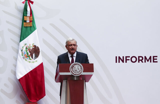 Mexican President Andres Manuel Lopez Obrador speaks at the National Palace in Mexico City, Sunday, April 5, 2020. López Obrador spoke to the nation about his economic recovery plan. The President, however, has labeled the situation a