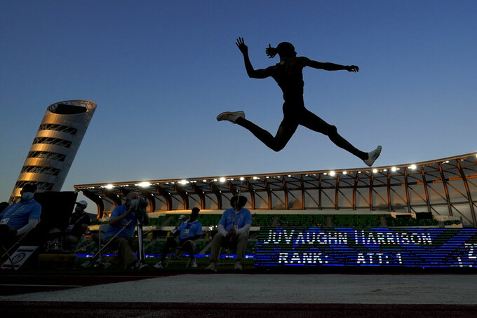 JuVaughn Harrison competes during the finals of the men's long jump at the U.S. Olympic Track and Field Trials Sunday, June 27, 2021, in Eugene, Ore. (AP Photo/Charlie Riedel)