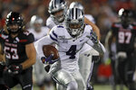 Kansas State's Malik Knowles (4) runs with the ball during the second half of the team's NCAA college football game against Texas Tech, Saturday, Nov. 23, 2019, in Lubbock, Texas. (Brad Tollefson/Lubbock Avalanche-Journal via AP)