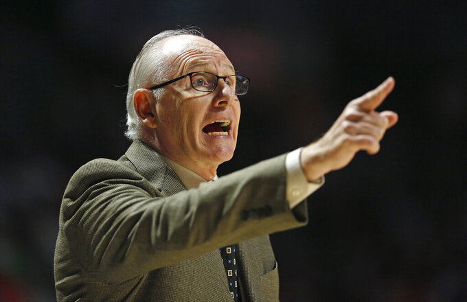 Miami head coach Jim Larranaga gives instructions to his team during the second half of an NCAA college basketball game against Notre Dame, Wednesday, Feb. 6, 2019 in Coral Gables, Fla. (David Santiago/Miami Herald via AP)
