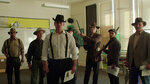 This undated photo provided by 4th Row Films, town residents dressed in period costume stand in a modern day classroom in