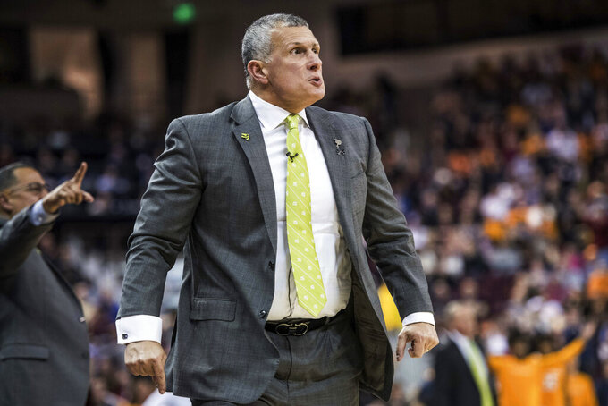 South Carolina head coach Frank Martin reacts to an official's call during the first half of an NCAA college basketball game against Tennessee Tuesday, Jan. 29, 2019, in Columbia, S.C. (AP Photo/Sean Rayford)