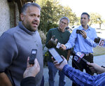 Former Baylor head football coach Matt Rhule speaks to reporters outside his home Tuesday Jan. 7, 2020, in Waco, Texas.  According to a person familiar with the situation, the Carolina Panthers are completing a contract to hire Baylor's Matt Rhule as their coach. The Panthers have not spoken publicly about the coaching search. (Jerry Larson/Waco Tribune-Herald via AP)