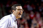 Nebraska coach Tim Miles disputes a call during the first half of the team's NCAA college basketball game against Wisconsin in Lincoln, Neb., Tuesday, Jan. 29, 2019. (AP Photo/Nati Harnik)