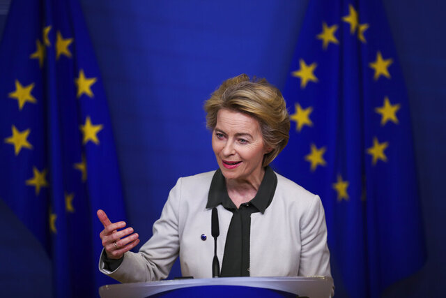 European Commission President Ursula von der Leyen gives a press statement on the European Green Deal at the European Commission headquarters in Brussels, Wednesday, Dec. 11, 2019. In her bid to lead the EU toward climate neutrality, European Commission president Ursula von der Leyen wants to put up 100 billion euros (dollars 130 billion U.S.) to help member countries that still heavily rely on fossil fuels transition to lower emissions. (AP Photo/Francisco Seco)
